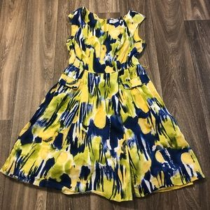 Calvin Klein Blue Yellow Dress Size 8